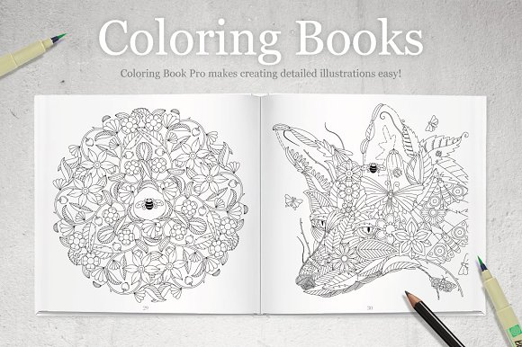 coloring book pro garden edition plug ins creative market - Color Book Images