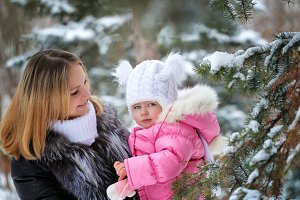Mother and daughter. Winter fun.