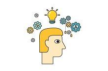 Idea and Brainstorm Illustration In Flat Design.