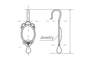 Jewelry Production Sketch of Earrings Isolated