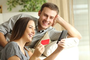 Happy couple buying