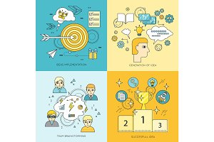 Set of Creating Ideas Concept Vector Illustrations