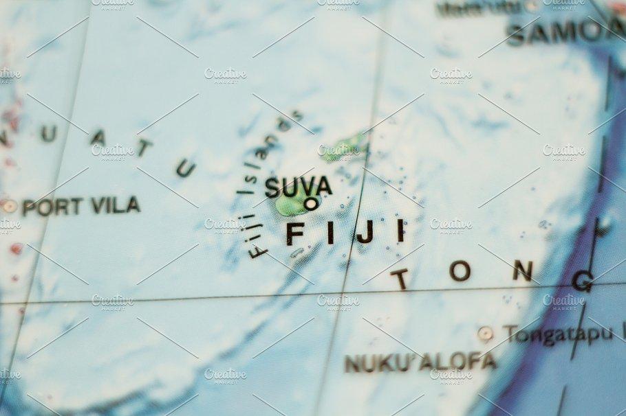 Fiji country map . ~ Nature Photos ~ Creative Market