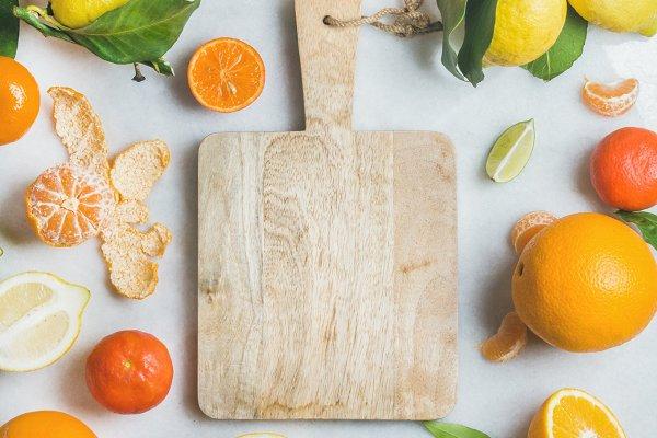 Variety of fresh citrus fruit