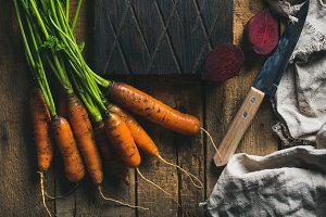 Garden carrots and beetroots