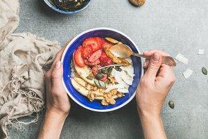 Eating healthy breakfast bowl