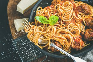 Italian dinner with meatballs