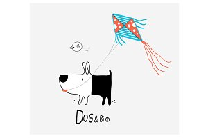 Dog & Bird flying a Kite