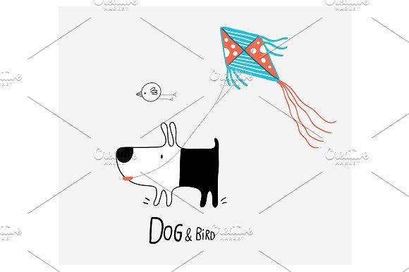 Dog Bird Flying A Kite