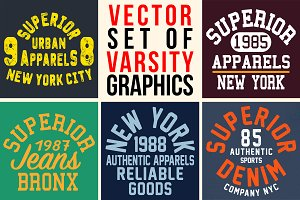 VECTOR SET OF VARSITY GRAPHICS