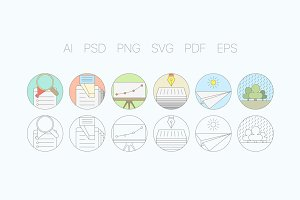 Digital Agency Flat Icons S1