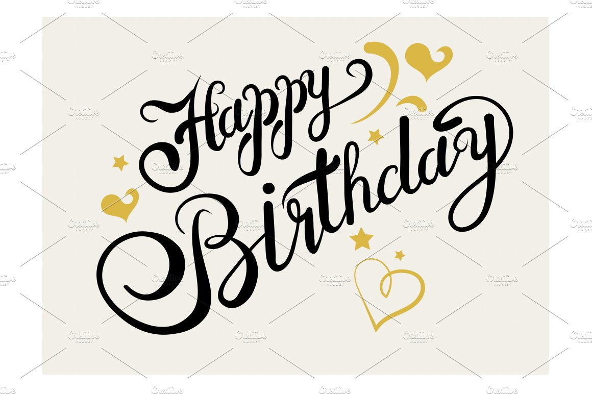 Happy birthday lettering script fonts creative market
