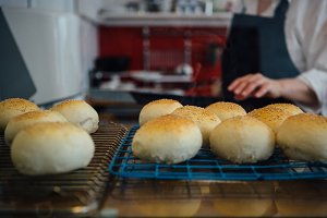 Sesame buns baking on oven-tray