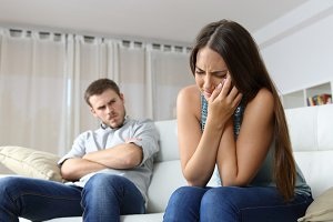 Woman lamenting domestic violence