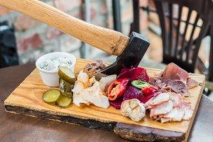 Meat, lard, vegetables on board
