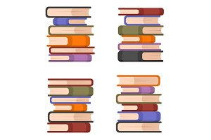Stacks of Colorful Books Set