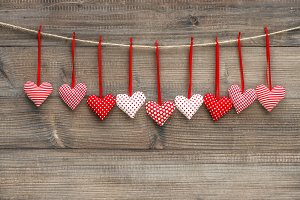 Valentines Day decoration Red Hearts