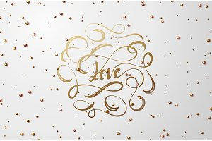 Lettering LOVE text gold colors.