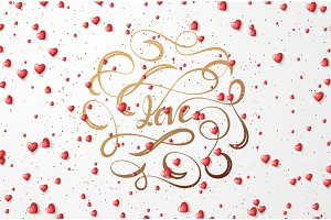 Text Love lettering for greeting card.
