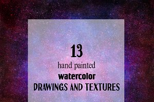 13 watercolor cosmic textures.