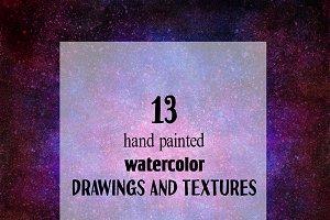 13 watercolor cosmic textures.