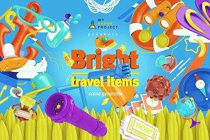Bright Travel Items Scene Generator