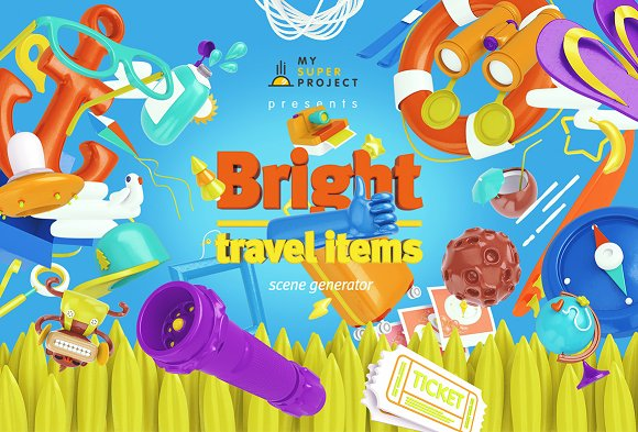 Download Bright Travel Items Scene Generator