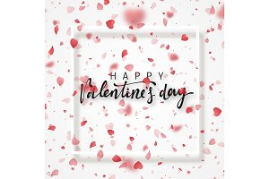 Happy Valentines Day lettering greeting card.