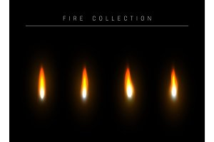 Realistic fire flame isolated light effect.