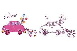 Wedding car vector set