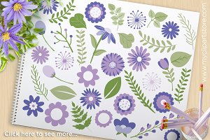 Purple Flowers - Vector Clipart