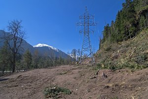 Transmission line in mountains