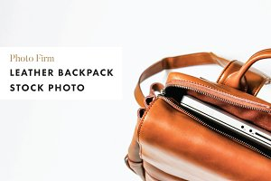 Leather Backpack Stock Photo