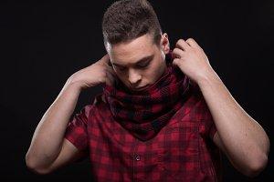 handsome man shirt scarf hands