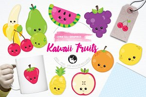 Kawaii fruits illustration pack