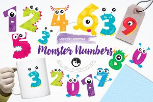 Monster numbers illustration pack
