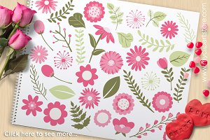 Valentine's Day Pink Flowers Clipart