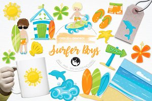 Surfer boys illustration pack