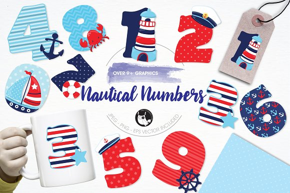 Nautical Numbers Illustration Pack