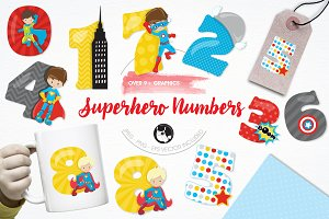 Superhero numbers illustration pack