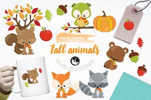 Fall animals illustration pack