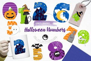 Halloween numbers illustration pack