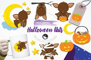 Halloween bats illustration pack