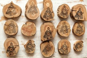 Ukrainian musician kobzar depicted on wooden stumps