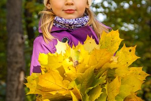 child with yellow leaves, a bouquet of yellow leaves, fallen lea