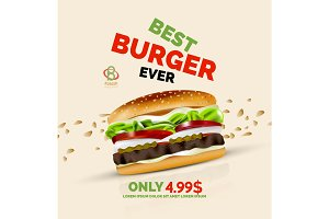 Vector premium burger ad template
