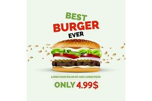 Vector premium burger ad template
