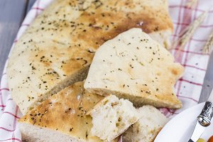 Italian focaccia with onion and basil