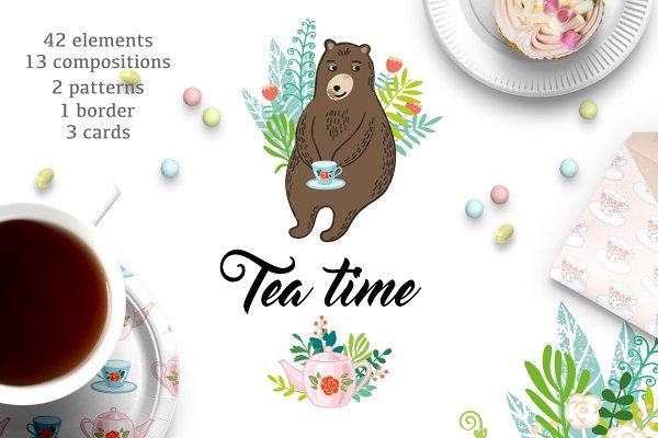 Tea time. Lovely vector set.