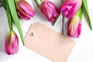 pring tulips with tags